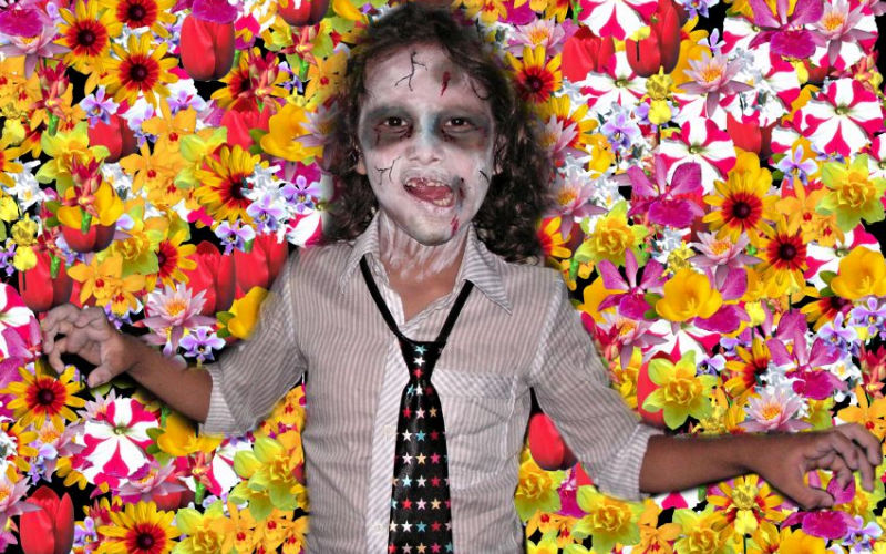 Zombie Face Paint on Flowers