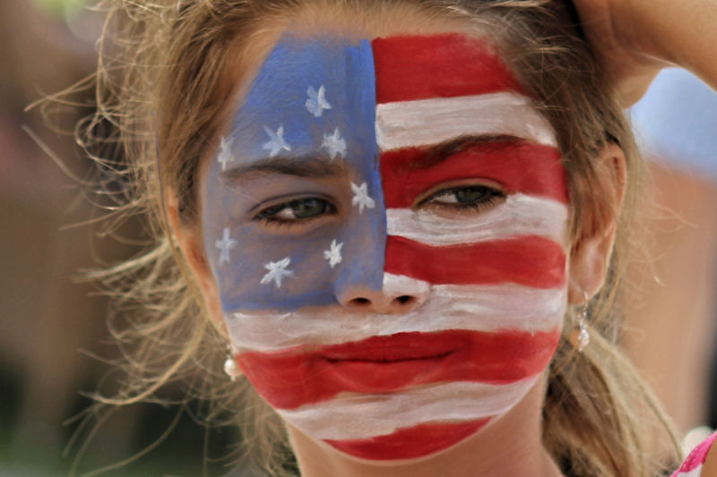 US Flag Girl Face Paint