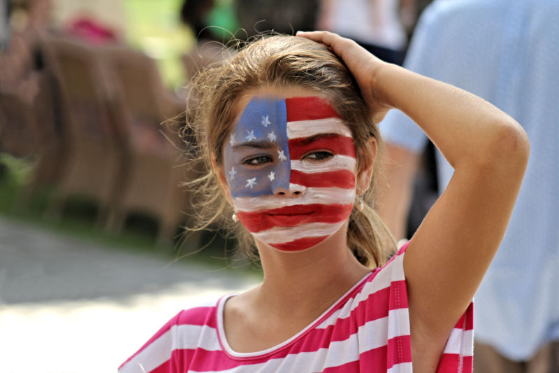 American Girl Wearing Her Flag on Her Face!