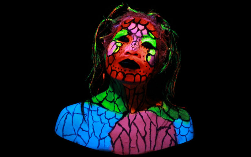 Swamp Creature Fluro Face Paint Girl