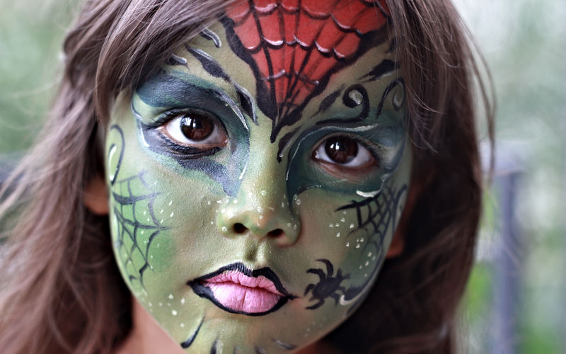 spider witch face paint
