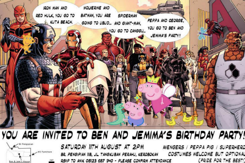 Marvel Characters Party Invitation