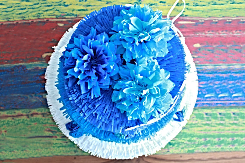 Blue Wedding Cake Pinata Detail