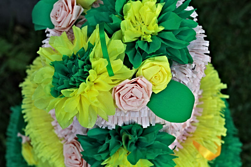 Green and Yellow Wedding Cake Pinata Detail