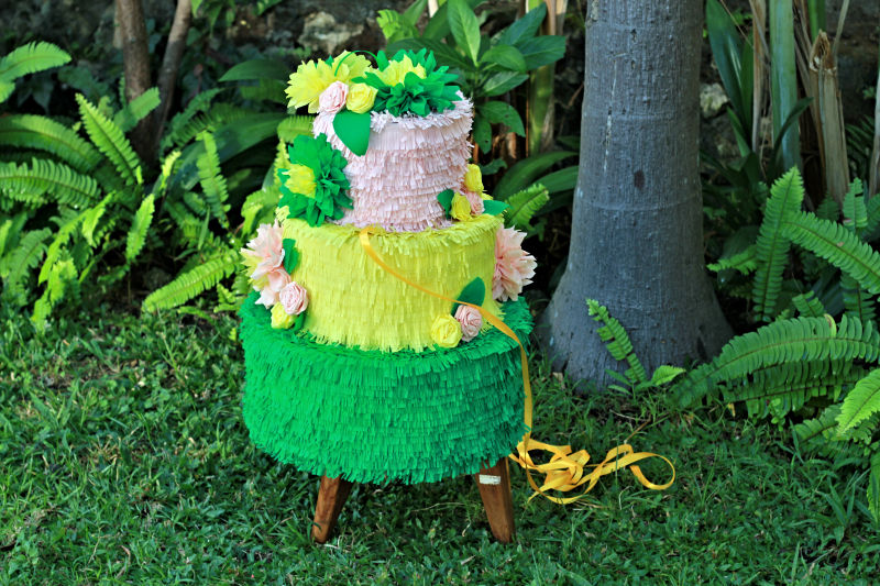 Green and Yellow Wedding Cake Pinata