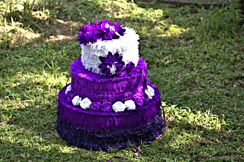 Purple Wedding Cake Pinata Detail