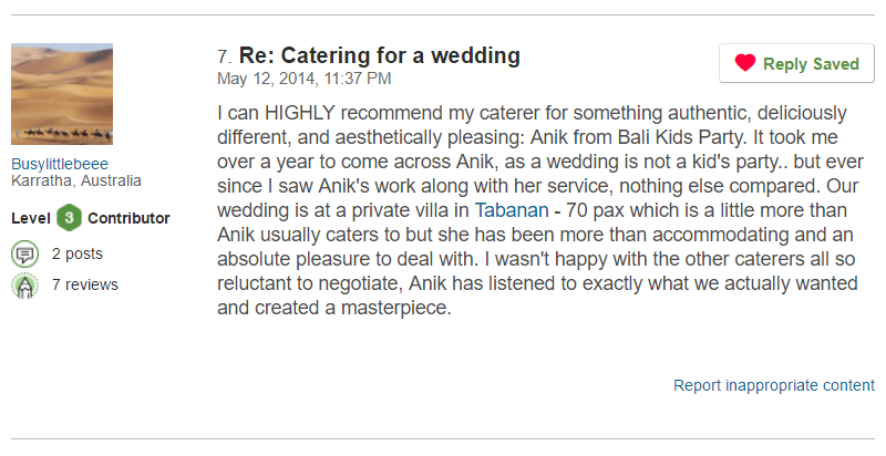 Bali Kids Party's first Trip Advisor review