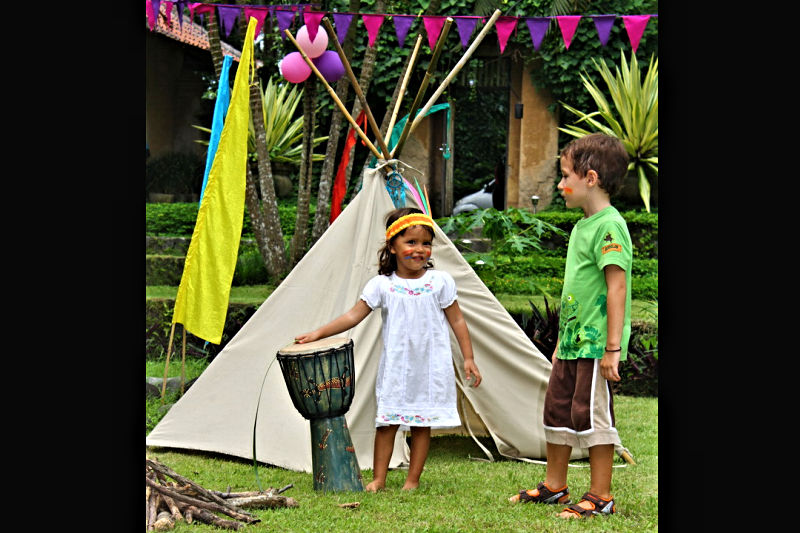 Tipi at Native American Theme Party